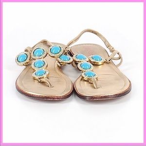 "LILLY PULITZER | ""Beach Club"" Jeweled Sandals"